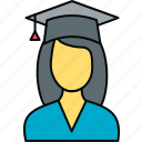 education, female, girl, graduate, graduation, student icon