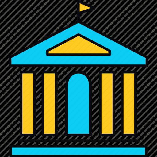 collage, flag, institute, university icon