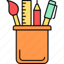 design, drawing, geometry, pen, pencil, penstand, ruler icon