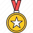 achievement, badge, medal, reward, ribbon, success icon