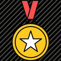 achievement, badge, medal, reward, ribbon, success icon