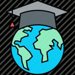 graduate, international, university icon