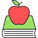 apple, book, bookmark, education, learning, notebook icon