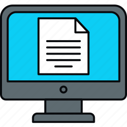 computer, document, format, monitor, page, paper, screen icon