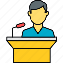 communication, male, message, podium, speech, student icon