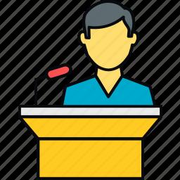 communication, male, message, podium, speech, student icon