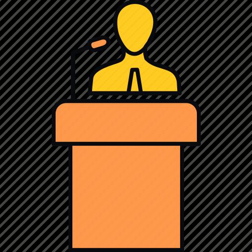 announcement, communication, message, podium, speaker, speech icon