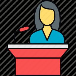 female, girl, message, podium, speech, student, teacher icon
