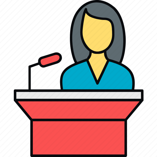 female, girl, message, podium, speech, student, teacher icon