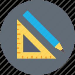 degree square, drafting tools, drawing tools, pencil, set square icon