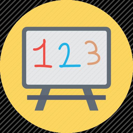 basic math, blackboard, classroom, math class, whiteboard icon