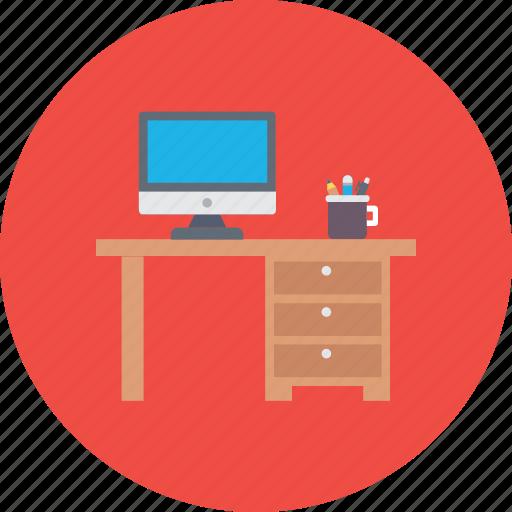 computer table, office desk, study desk, work desk, workstation desk icon