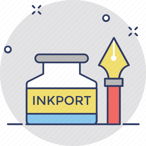 fountain pen, ink bottle, ink pen, inkpot, pen icon