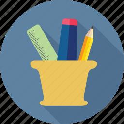 holder, marker, pencil, pencil holder, scale icon