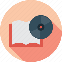 book, book and cd, cd, disc icon