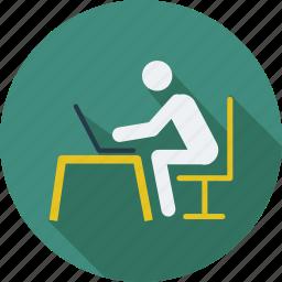 man, online work, user, work, work in progress, worker icon