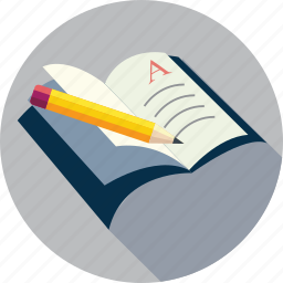 book, notebook, pencil on book, text on book icon