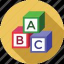 abc, alphabets, blocks, education, study icon