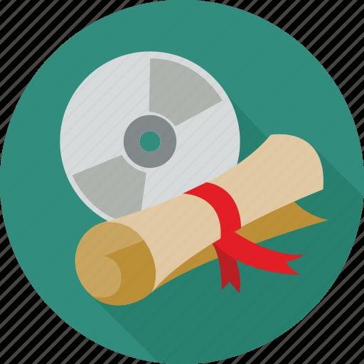 certificate, degree, dvd icon