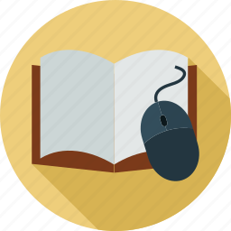 book, mouse, notebook, online, online training, training icon