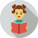 girl learning, girl studying, reading icon