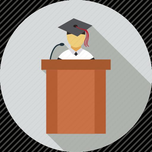 dice, graduate, presenter, speaker icon