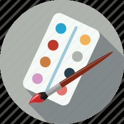 brush, color, color palette, colors, paint brush, palette icon