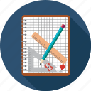 eraser, graph, notebook, pencil, scale icon