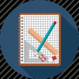eraser, graph, notebook, pencil, scale icon