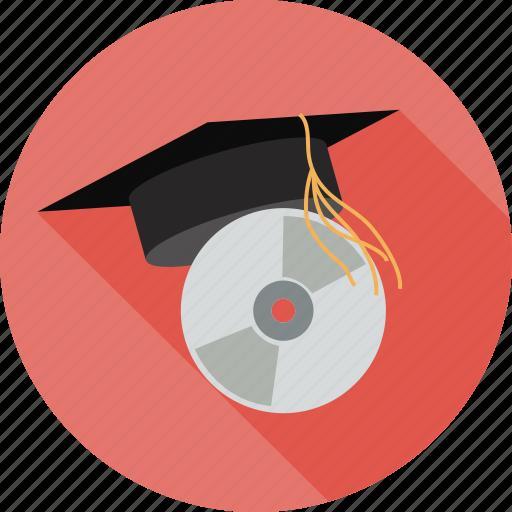 dvd and cap, graduation cap, hat icon