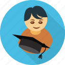 avatar, graduate, graduation, student, user icon