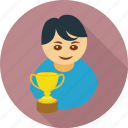boy, cup, male, trophy, win, achievement, award icon