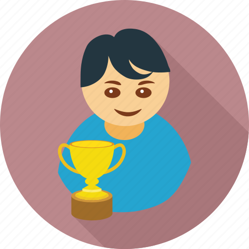 achievement, award, boy, cup, male, trophy, win icon