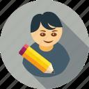 avatar, edit, pencil, student, profile