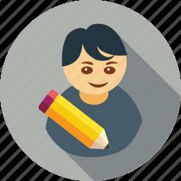 avatar, edit, pencil, profile, student icon