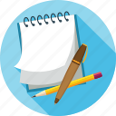 notes, pen, pencil icon
