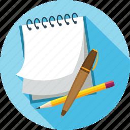 notes, pen, pencil icon