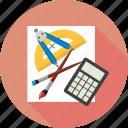 brushes, calculator, math tools, paper, tools