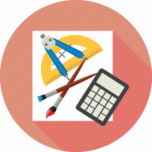 brushes, calculator, math tools, paper, tools icon
