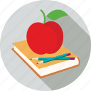 apple, book, pencils icon