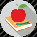 apple, book, pencils