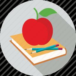 apple, book, pencils icon