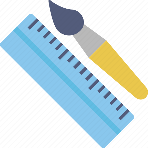 drafting tools, drawing tools, paint brush, ruler, scale, school supplies icon