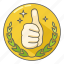 award, awesome, excellent, great, praise, stamp, thumbs up icon
