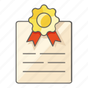 accredited, award, certificate, certification, degree, official, prize icon