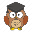 academic, book, education, graduate, graduation, owl, school icon