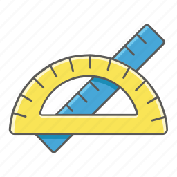 maths, measure, measurement, measuring, protractor, ruler icon