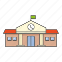 building, campus, education, elementary, institution, school icon