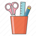 equipment, pencil, ruler, school, scissors, supplies icon