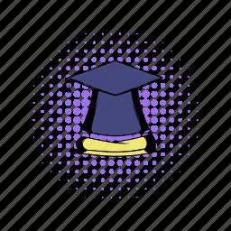 ceremony, comics, diploma, graduate, hat, school, student icon